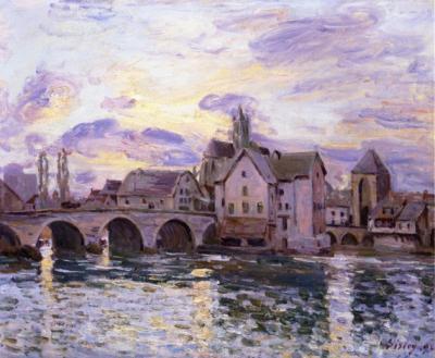 Sisley le pont a moret au coucher du soleil 630x519